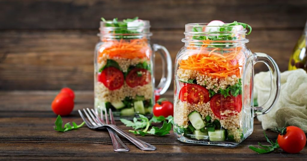 healthy veggies in mason jars